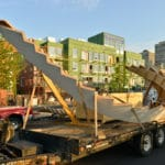 wood staircase loading on the truck