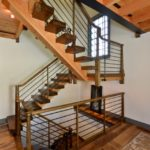 curved wood railing